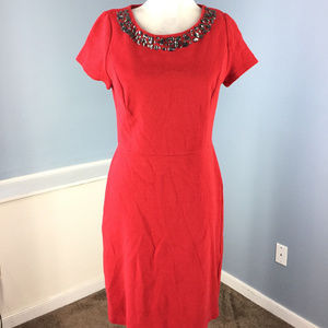 Talbots M 8 10 Red Knit Sheath Dress Embellished